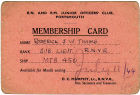 Membership Card - RN and RM Junior Officer's Club Portsmouth